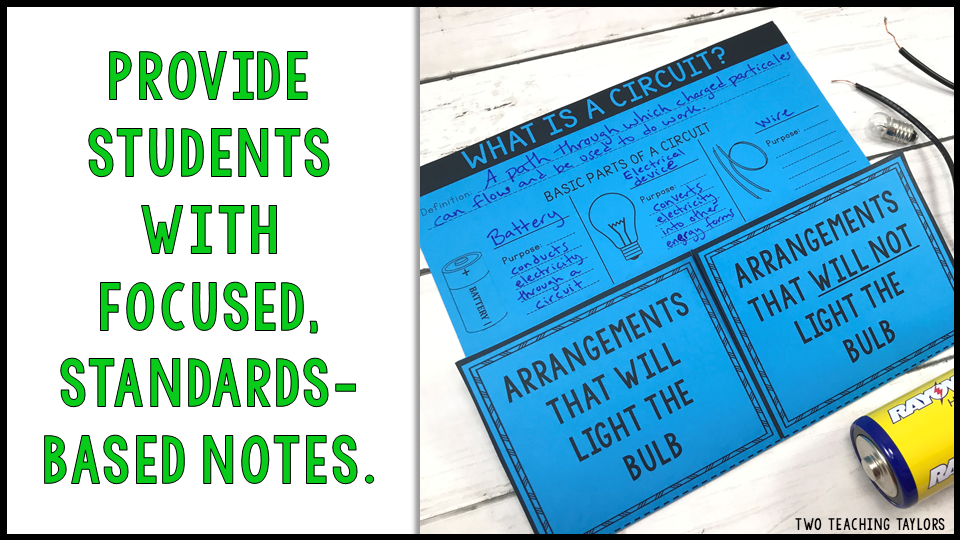 Provide students with focused, standards-based notes for their interactive notebooks