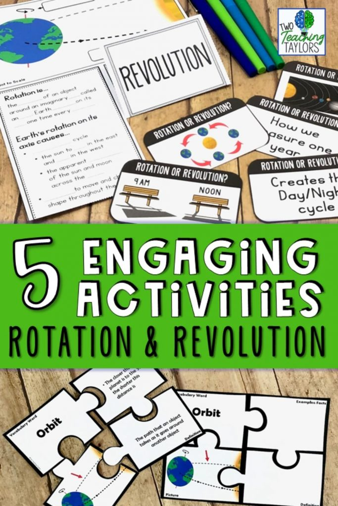 5 activities for teaching rotation and revolution pin images