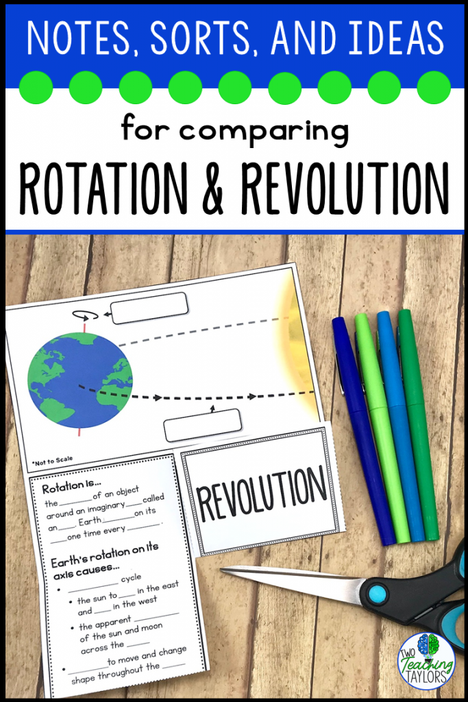 Notes, sorting activities and ideas for comparing rotation and revolution.