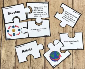 Vocabulary puzzles for rotate and revolve
