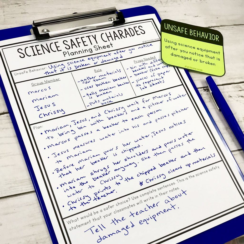 Science safety charades planning sheet