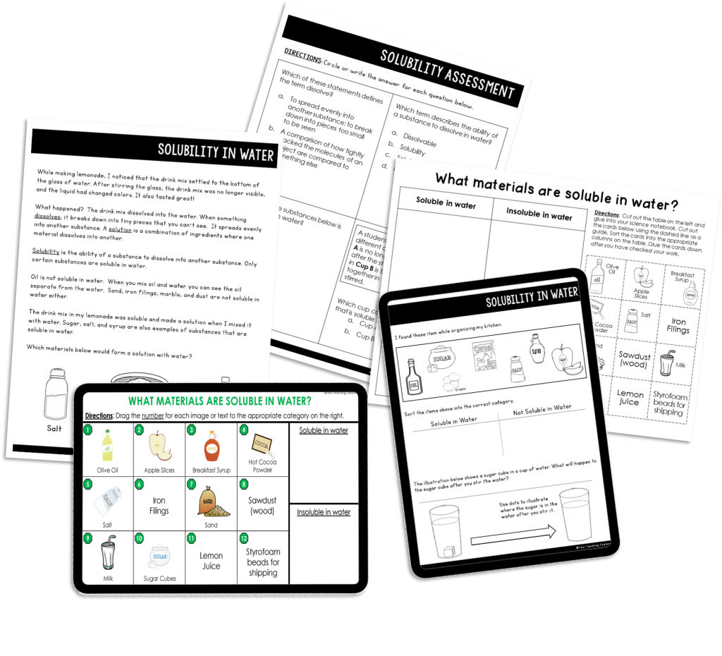 Picture of resources included with the Solubility Reading Passages and Activities Mini Unit