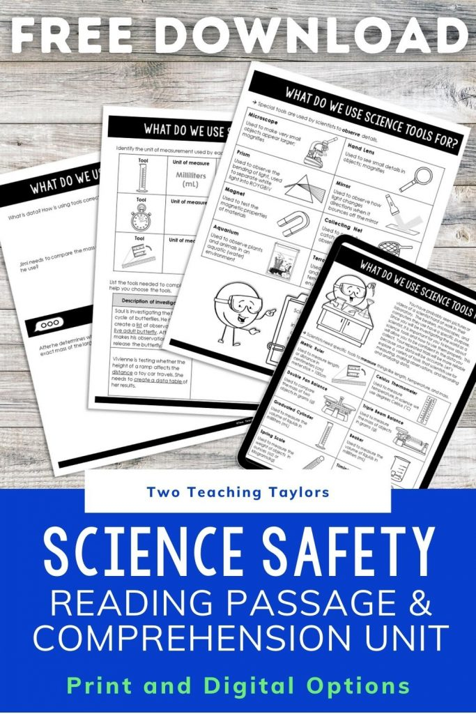 Science Safety Comprehension Activities