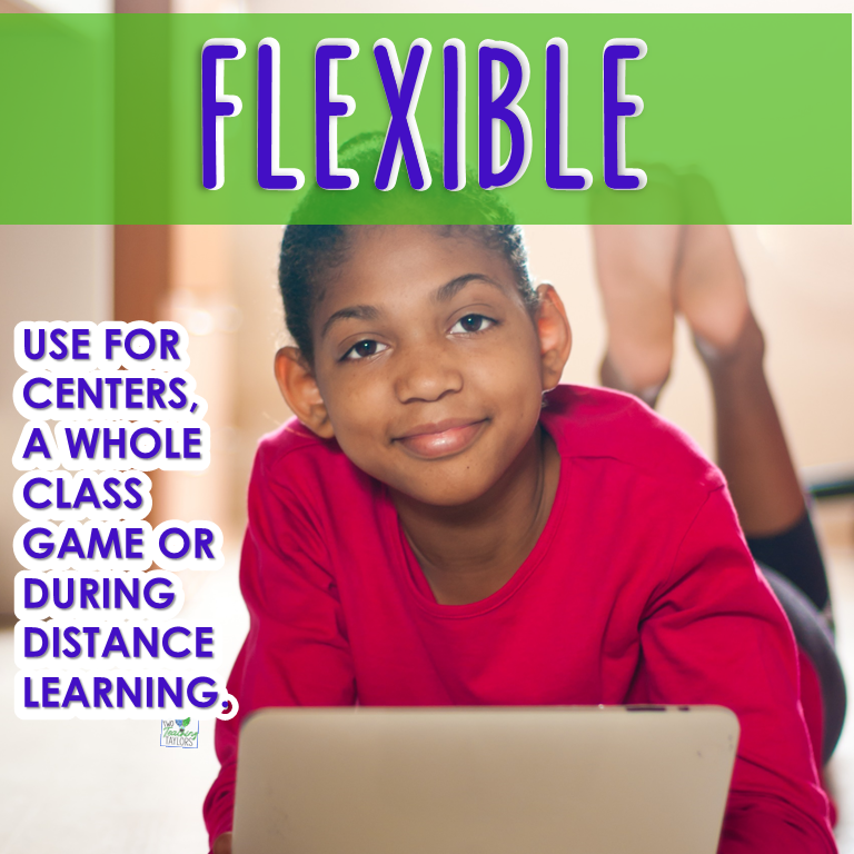 image says game is flexible for in class or distance learning