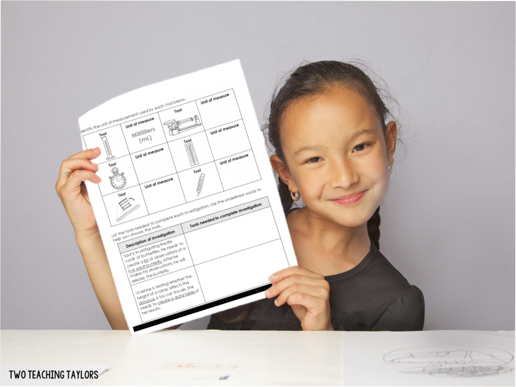 Girl holding paper with comprehension questions as example of integrating science and literacy