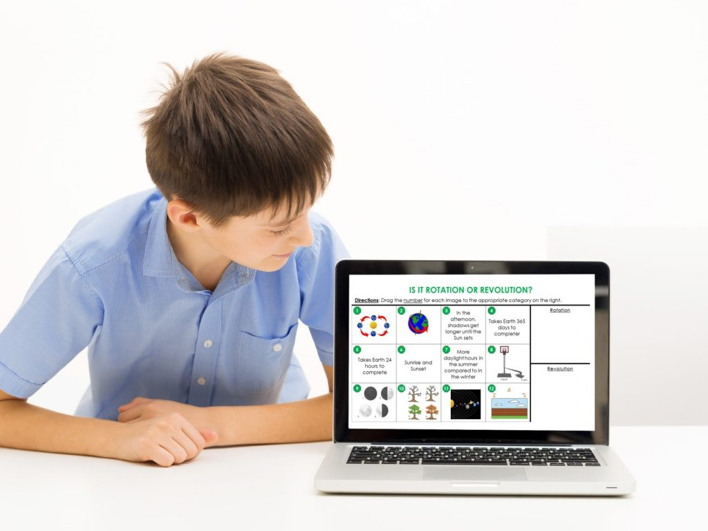 boy looking at a digital science sorting activity