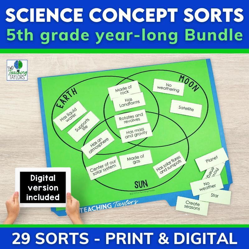 5th grade science review sorting activities for the entire year cover image
