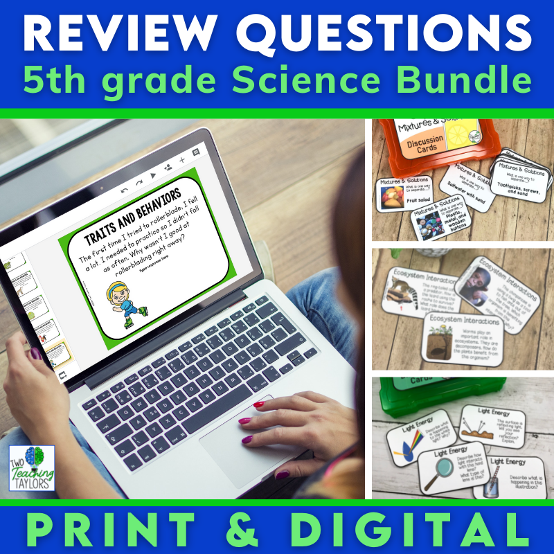 5th grade science review questions bundle cover image
